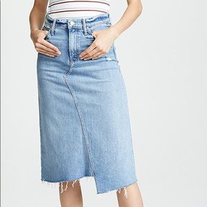 MOTHER the straight a step midi fray denim skirt